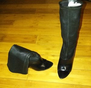 ALEXANDER WANG peeptoe genuine leather ankle boots